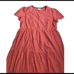 Knox Rose short sleeve eyelet dress pink L